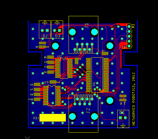 Image of electronics in Networked Robotics streamer board